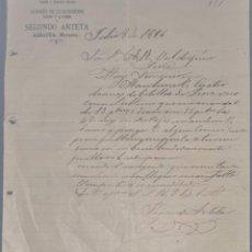 Cartas comerciales: SEGUNDO ARTETA. LA ESPECIAL. FÁBRICA DE EMBUTIDOS Y ALMACÉN ULTRAMARINOS. NAVARRA. ESPAÑA 1896. Lote 270395508