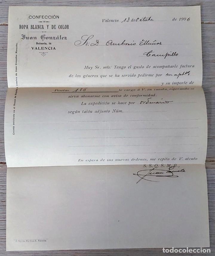 ANTIGUA CARTA COMERCIAL DE JUAN GONZÁLEZ - CONFECCIÓN ROPA BLANCA Y DE COLOR - TELEGRAMA - AÑO 1906 (Coleccionismo - Documentos - Cartas Comerciales)