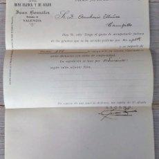 Cartas comerciales: ANTIGUA CARTA COMERCIAL DE JUAN GONZÁLEZ - CONFECCIÓN ROPA BLANCA Y DE COLOR - TELEGRAMA - AÑO 1906. Lote 270542518