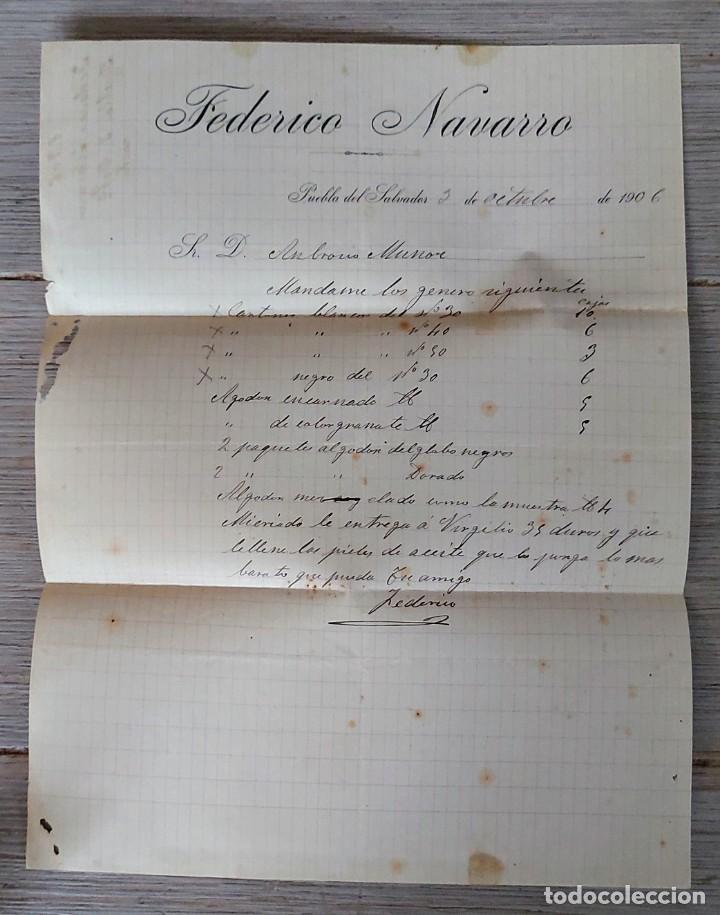 ANTIGUA CARTA COMERCIAL DE FEDERICO NAVARRO PUEBLA DEL SALVADOR - TELEGRAMA - AÑO 1906 - CUENCA - TA (Coleccionismo - Documentos - Cartas Comerciales)