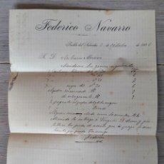 Cartas comerciales: ANTIGUA CARTA COMERCIAL DE FEDERICO NAVARRO PUEBLA DEL SALVADOR - TELEGRAMA - AÑO 1906 - CUENCA - TA. Lote 270542958