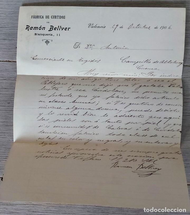 ANTIGUA CARTA COMERCIAL DE RAMÓN BELLVER - FABRICA DE CURTIDOS - TELEGRAMA - AÑO 1906 - VALENCIA - T (Coleccionismo - Documentos - Cartas Comerciales)