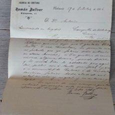 Cartas comerciales: ANTIGUA CARTA COMERCIAL DE RAMÓN BELLVER - FABRICA DE CURTIDOS - TELEGRAMA - AÑO 1906 - VALENCIA - T. Lote 270544808