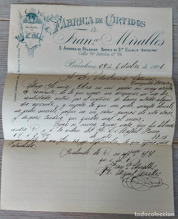 ANTIGUA Y BONITA CARTA COMERCIAL DE FRANCISCO MIRALLES - FABRICA DE CURTIDOS - TELEGRAMA - AÑO 1906 (Coleccionismo - Documentos - Cartas Comerciales)