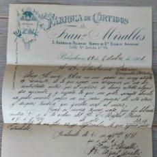 Cartas comerciales: ANTIGUA Y BONITA CARTA COMERCIAL DE FRANCISCO MIRALLES - FABRICA DE CURTIDOS - TELEGRAMA - AÑO 1906. Lote 270545768
