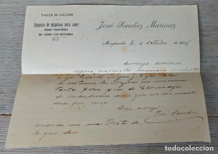 CARTA COMERCIAL DE JOSÉ SÁNCHEZ MARTÍNEZ - TALLER DE CALZADO - MINGLANILLA - ALBACETE - TELEGRAMA - (Coleccionismo - Documentos - Cartas Comerciales)