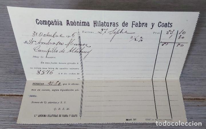 ANTIGUA FACTURA CARTA COMERCIAL DE LA COMPAÑIA ANONIMA HILATURAS DE FABRA Y COATS - BARCELONA - TELE (Coleccionismo - Documentos - Cartas Comerciales)