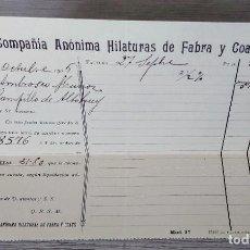 Cartas comerciales: ANTIGUA FACTURA CARTA COMERCIAL DE LA COMPAÑIA ANONIMA HILATURAS DE FABRA Y COATS - BARCELONA - TELE. Lote 270548448