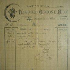 Cartas comerciales: TUDELA NAVARRA FACTURA AÑO 1900 BONITO MEMBRETE ILDEFONSO CONDON E HIJOS ZAPATERÍA. Lote 273936263