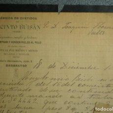 Cartas comerciais: BARBASTRO HUESCA CARTA COMERCIAL AÑO 1896 PERGAMINOS Y PIELES AL PELO - JACINTO BUISÁN. Lote 273940468