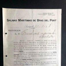 Cartas comerciais: SALINAS MARÍTIMAS DE BRAS DEL PORT / CARTA COMERCIAL- KAINITAS MARÍTIMAS / SANTAPOLA 1918 / ALICANTE. Lote 274406428
