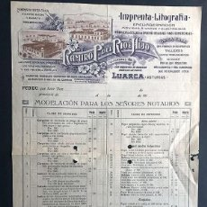 Cartas comerciais: IMPRENTA LITOGRÁFICA / RAMIRO P. DEL RÍO E HIJO / LISTADO PRODUCTOS LUARCA / GRAN TAMAÑO. Lote 274407973