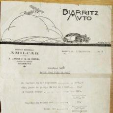 Cartas comerciais: BIARRITZ AUTO - CARTA COMERCIAL - FACTURA - 1927. Lote 274851603