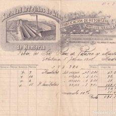 Cartas comerciales: SOCIEDAD DE TEJIDOS DE LINO DE RENTERÍA. FABRICACIÓN DE RETORTAS. GUIPUZCOA.. Lote 275466748