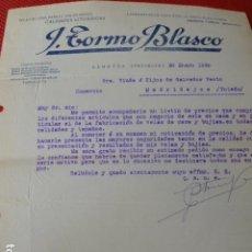 Cartas comerciales: ALBAIDA VALENCIA J. TORMO BLASCO VELAS DE CERA CARTA COMERCIAL 1930. Lote 275901623