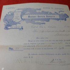 Lettere commerciali: VALL DE UXÓ CASTELLON FABRICA DE ALPARGATAS MANUEL GARCIA NAVARRO CARTA COMERCIAL 1912. Lote 275901693