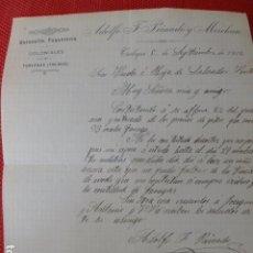 Cartas comerciales: TURLEQUE TOLEDO QUINCALLA PAQUETERIA COLONIALES ADOLFO PEINADO CARTA COMERCIAL 1912. Lote 275902078
