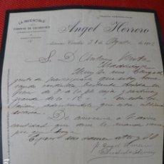 Lettere commerciali: CANDAS ASTURIAS FABRICA DE ESCABECHES LA INVENCIBLE ANGEL HERRERO CARTA COMERCIAL 1912. Lote 275902268