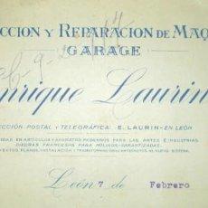 Cartas comerciales: ENRIQUE LAURÍN, MAQUINARIA Y GARAJE EN LEÓN. CARTA A CONSTRUCTORA GIJONESA DE 1917.. Lote 275927108