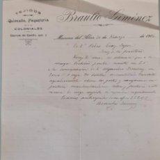 Lettres commerciales: BRAULIO GIMÉNEZ. TEJIDOS, QUINCALLA Y PAQUETERÍA. MAIRENA DEL ALCOR. ESPAÑA 1916. Lote 276176478
