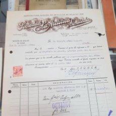 Lettres commerciales: ANTIGUA FACTURA CARTA COMERCIAL SOCIEDAD ARTISTICA VIGO HOJALATA 1951. Lote 276293158