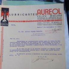 Lettere commerciali: LUBRICANTES AUREOL. FELIPE MOLINA. INDUSTRIAS AUTOMOVILISMO. AVIACIÓN.. 1931 MADRID.. Lote 276368358