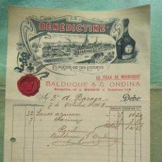 Cartas comerciales: BENEDICTINO. BALDUQUE & G ONDINA. EL MEJOR DE LOS LICORES 1908 MADRID.. Lote 276372338