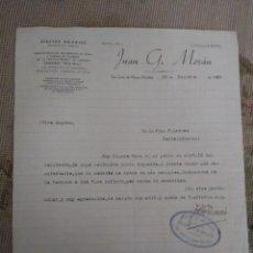 Cartas comerciales: EFECTOS NAVALES. JUAN G. MORÁN. SAN JUAN DE NIEVA. ASTURIAS... Lote 276683263
