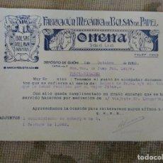 Cartas comerciales: BOLSAS DE PAPEL. ONENA. VILLALBA. NAVARRA. GIJÓN . ASTURIAS.. Lote 276691823