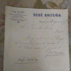 Cartas comerciales: LA FLOR. FABRICA CHOCOLATE. JOSÉ ANTUÑA. VEGADEO. ASTURIAS. Lote 276698258