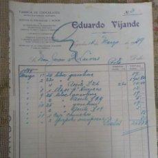 Cartas comerciales: FABRICA DE CHOCOLATES. EDUARDO VIJANDE. VEGADEO. ASTURIAS. Lote 276700893