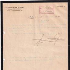Lettere commerciali: GENEROSO MARTÍN TOLEDANA. VINOS, ACEITES DE OLIVA. MALAGÓN CIUDAD REAL.. FIRMA PROPIETARIO.. Lote 276708768