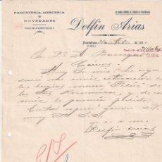 Cartas comerciales: DELFÍN ARIAS PAQUETERÍA, MERCERÍA Y NOVEDADES. PUETOLLANO CIUDAD REAL. FIRMA PROPIETARIO. Lote 276709008