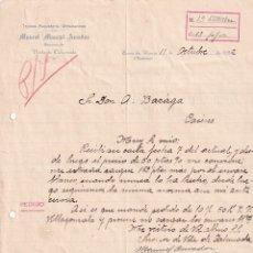 Cartas comerciales: MANUEL MARCIAL AMADOR. VIUDA DE CALCERRADA. ZARZA DE ALANGE BADAJOZ. 1932 FIRMA PROPIETARIO. Lote 276712298