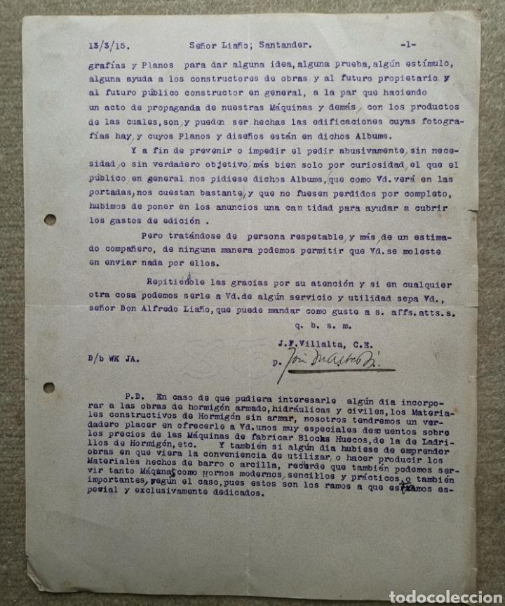 Cartas comerciales: Antigua Carta Comercial J. F. Villalta Maquinaria Industrial - Barcelona - Santander - Año 1915 - Foto 2 - 276800913