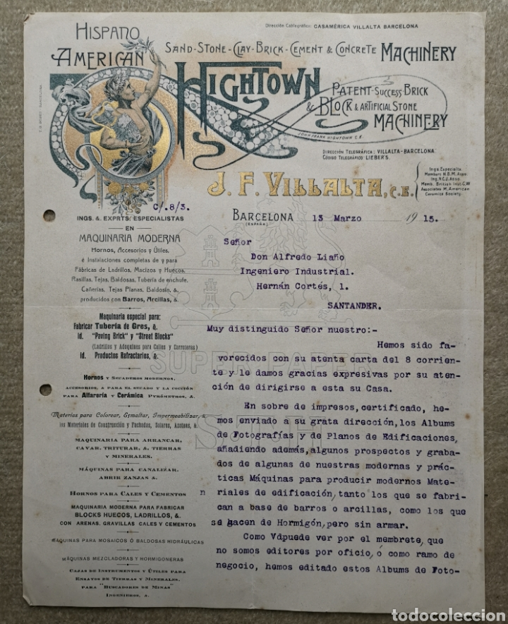 ANTIGUA CARTA COMERCIAL J. F. VILLALTA MAQUINARIA INDUSTRIAL - BARCELONA - SANTANDER - AÑO 1915 (Coleccionismo - Documentos - Cartas Comerciales)