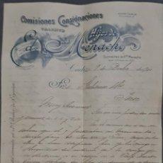 Cartas comerciales: HIJOS DE ED. MENACHO. COMISIONES Y CONSIGNACIONES. CÁDIZ. ESPAÑA 1901. Lote 277194908