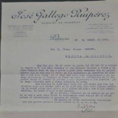 Cartas comerciales: JOSÉ GALLEGO RUIPÉREZ. TALLERES MECÁNICOS DE CARPINTERÍA. PALENCIA. ESPAÑA 1929. Lote 277195803