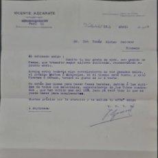 Cartas comerciales: VICENTE AZCÁRATE. REPRESENTANTE. VALLADOLID. ESPAÑA 1929. Lote 277195858