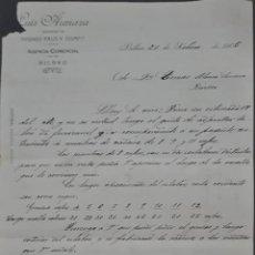 Cartas comerciales: LUIS ARENAZA. SUCESOR DE HIGINIO FAUS Y Cª. TALLER DE FORJA. BILBAO. ESPAÑA 1905. Lote 277196123