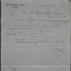 Cartas comerciales: RICARDO ROCHELT É HIJOS. BILBAO. ESPAÑA 1905. Lote 277197743