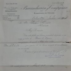 Cartas comerciales: BARANDIARÁN Y COMPAÑÍA. GRANDES ALMACENES DE DROGAS Y PRODUCTOS FARMACÉUTICOS. BILBAO. ESPAÑA 1905. Lote 277197858