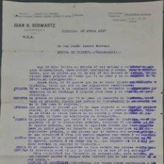 Cartas comerciales: JUAN H. SCHWARTZ. MÁQUINAS AGRÍCOLAS Y PIEZAS DE RECAMBIO. CÓRDOBA. ESPAÑA 1913. Lote 277202168