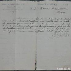 Cartas comerciales: SOBRINOS DE JORGE SÁENZ Y Cª. ALMACENES POR MAYOR DE QUINCALLA Y FERRETERÍA. VALLADOLID. ESPAÑA 1913. Lote 277202178