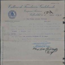 Cartas comerciales: TALLERES DE FUNDICIÓN GABILONDO. COMPAÑÍA ANÓNIMA. VALLADOLID. ESPAÑA 1913. Lote 277202223