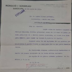 Cartas comerciales: MONGUIÓ Y SCHARLAU. BARNICES PARA LITOGRAFÍA. BARCELONA. ESPAÑA 1913. Lote 277202258
