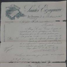 Cartas comerciales: SANTOS EIZAGUIRRE. FERRETERÍA Y HERRAMIENTAS. SAN SEBASTIÁN. ESPAÑA 1913. Lote 277202343