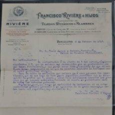 Cartas comerciales: FRANCÍSCO RIVIÉRE É HIJOS. BARCELONA. ESPAÑA 1913. Lote 277202398