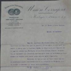 Cartas comerciales: UNIÓN CERRAJERA. MONDRAGÓN. ESPAÑA 1913. Lote 277202488