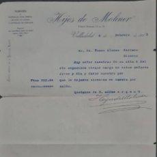 Cartas comerciales: HIJOS DE MOLINER. ALMACÉN DE QUINCALLA, LOZA Y CRISTAL. VALLADOLID. ESPAÑA 1913. Lote 277202513